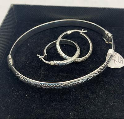Sterling Silver Carved Bracelet And Earring Set