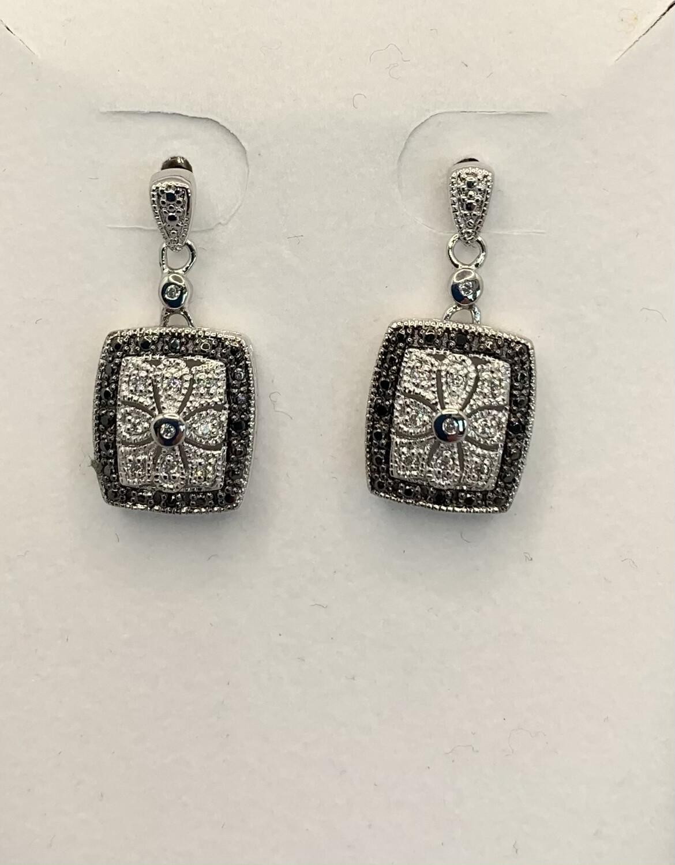 CZ Sterling Silver Post Hanging Earrings