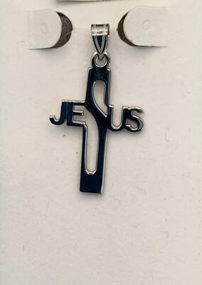"""Sterling Silver """"Jesus"""" Cross Pendant"""
