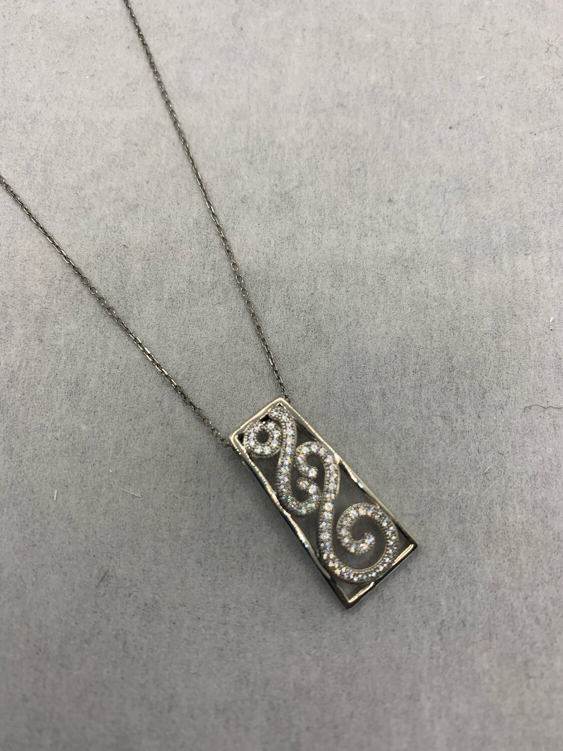 CZ Paisley Sterling Silver Pendant with Whisper chain