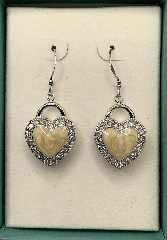 Creamy Heart Sterling Silver Hanging Earrings