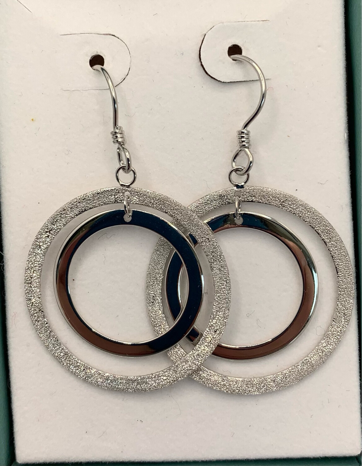 Textured And Smooth Double Circle Hanging Sterling Earrings