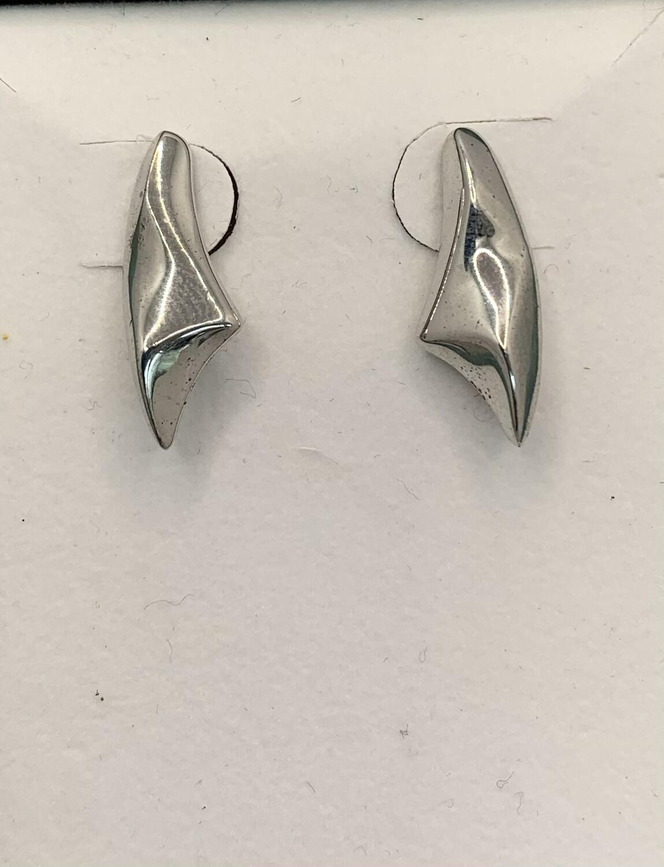 Sculpted Sterling Silver Post Earrings