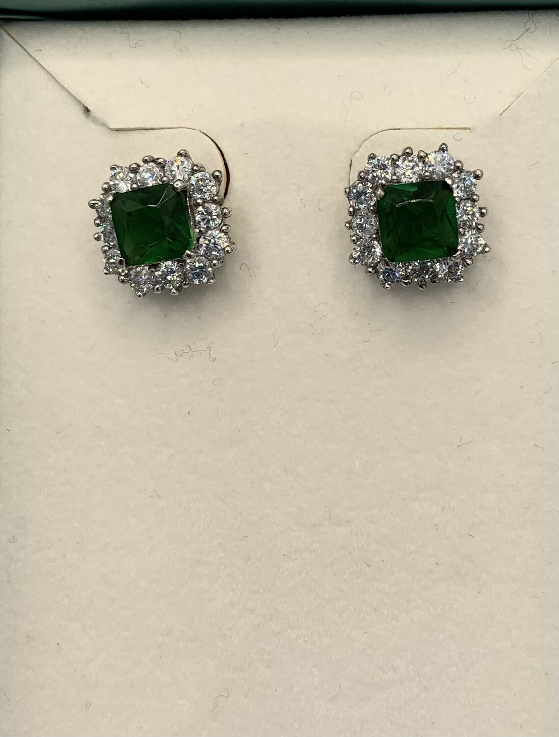 Synthetic Emerald With Halo Post Earrings