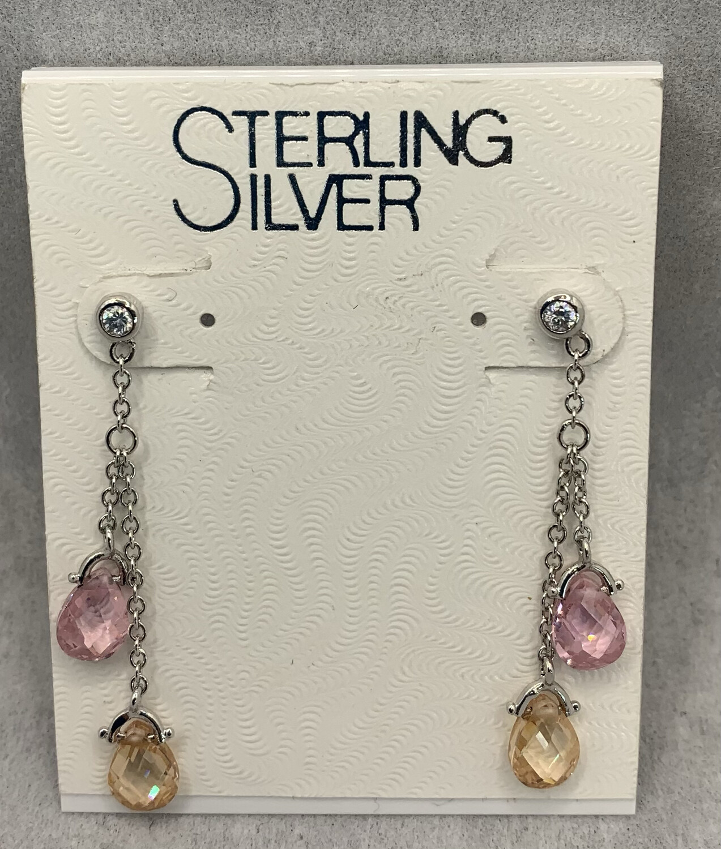 Gemstone Sterling Silver Double Dangle Post Earrings