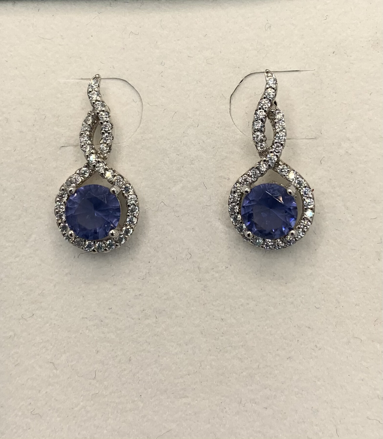 Synthetic Blue Lilac Drop Post Sterling Silver Earrings