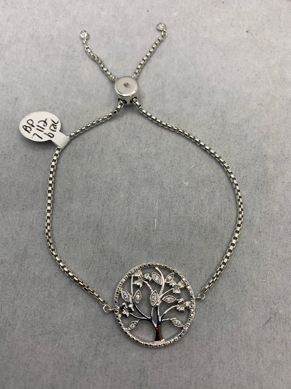 Sterling Silver Tree Bracelet With Pinch Closure