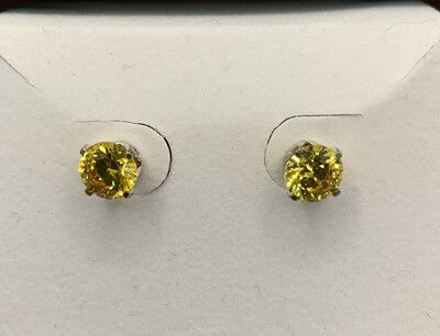 Synthetic Citrine Birthstone Studs