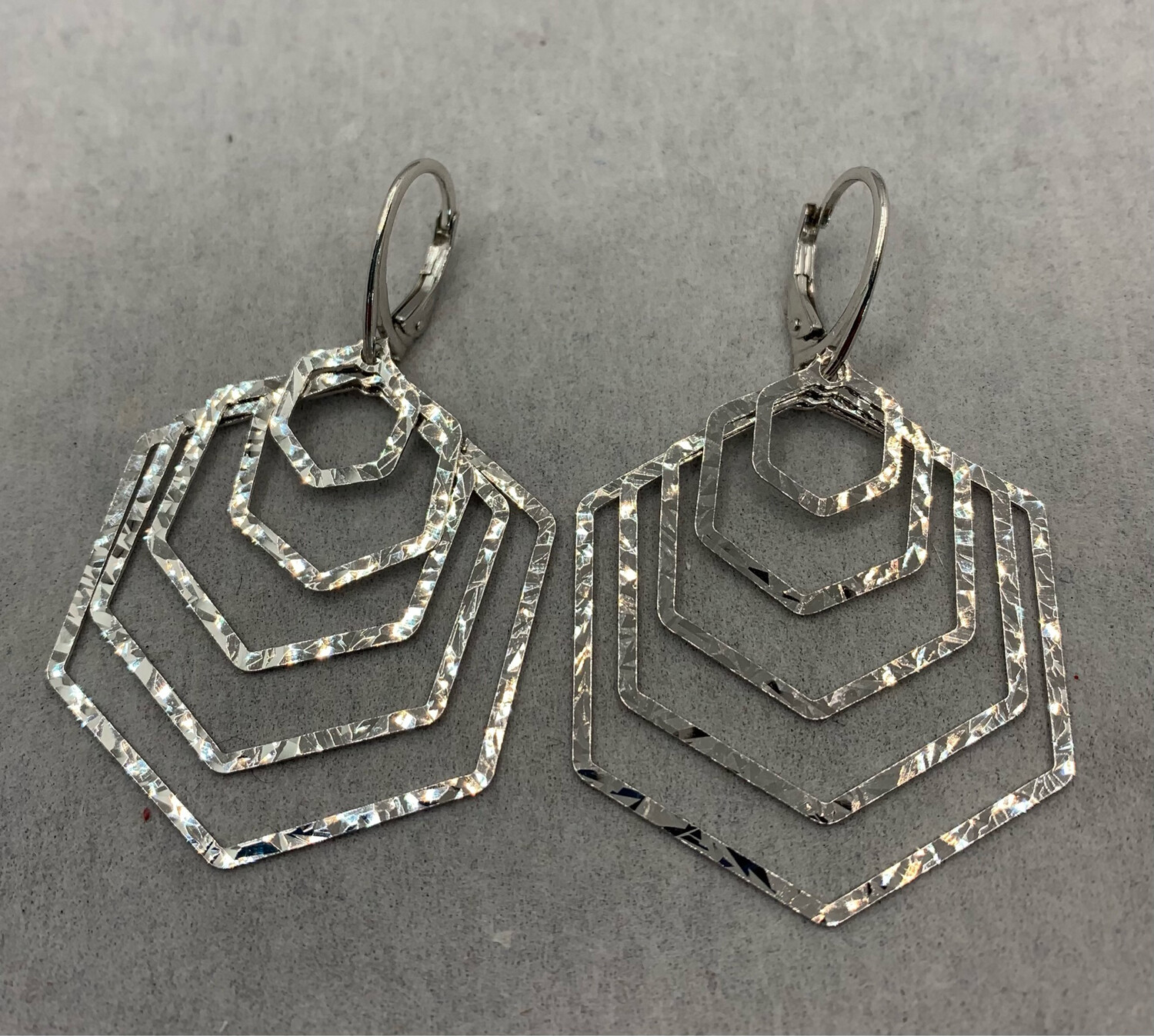 Concentric Hexagon Sterling Silver Earrings