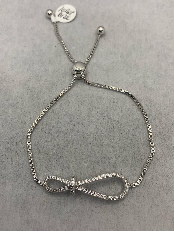 Infinity Sparkle Sterling Silver Bolo Clasp Bracelet