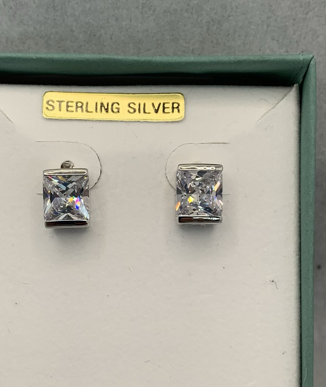 Princess Cut CZ Sterling Silver Post Earrings