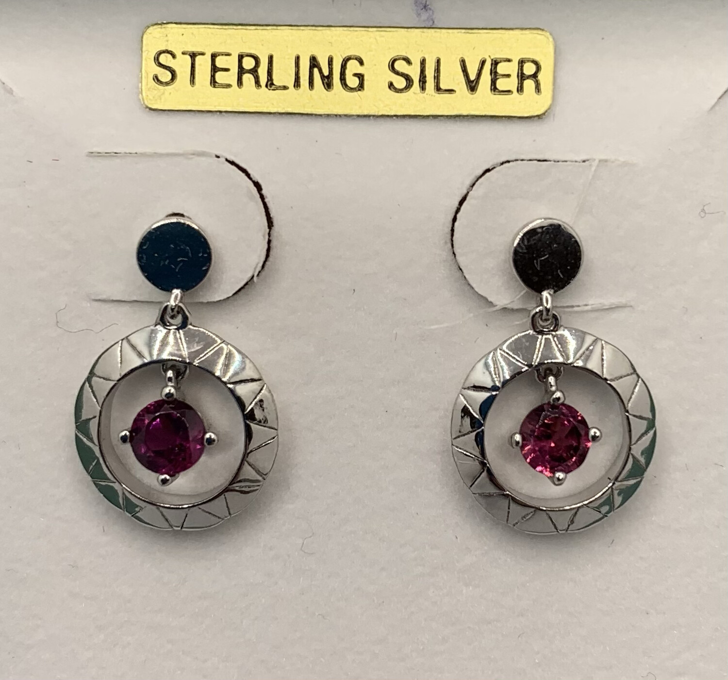 Sterling Silver Red Gem Circle Post Earrings