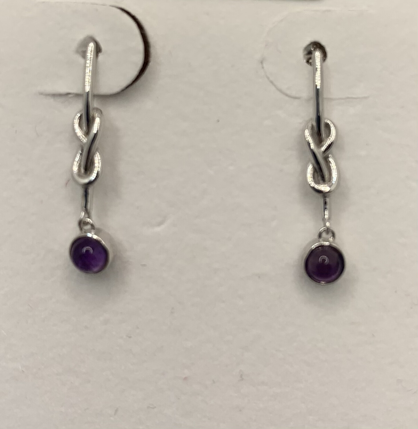 Sterling Silver Knotted Lab Amethyst Post Earrings