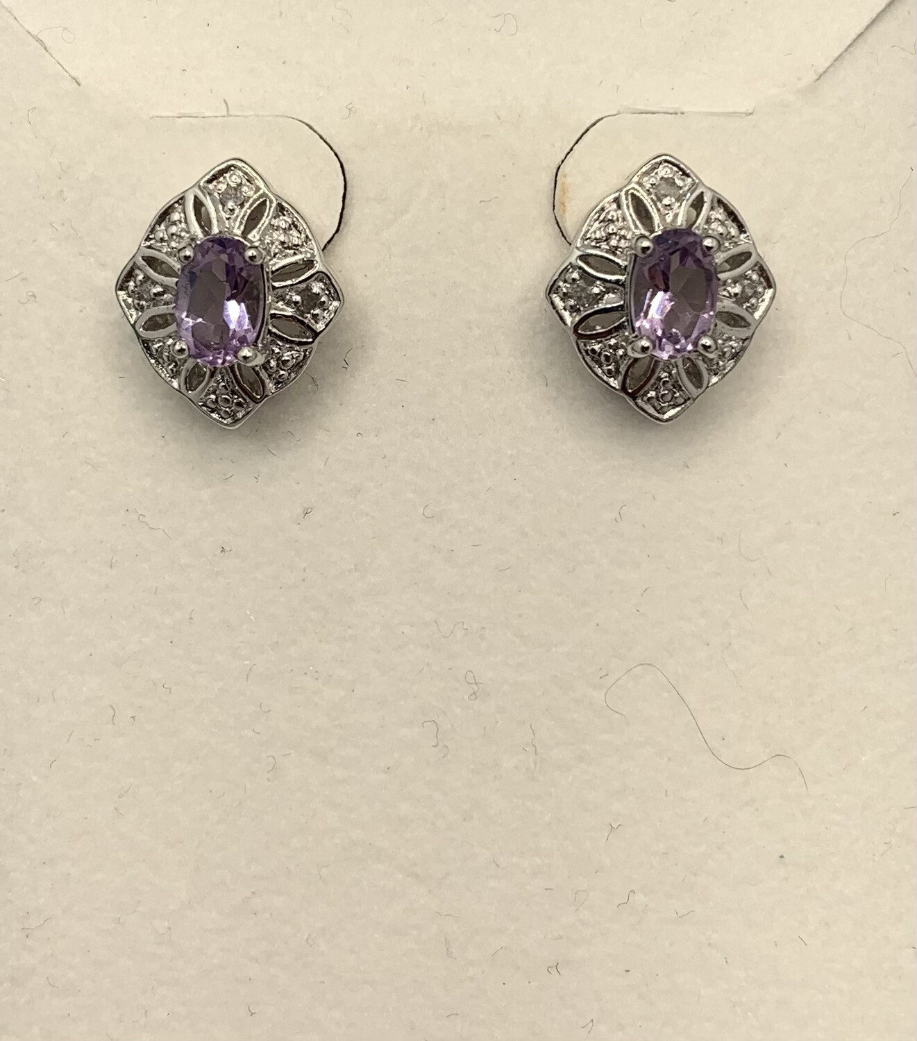 Sterling Silver Lilac Gemstone With Genuine Diamond Accents Post Earrings