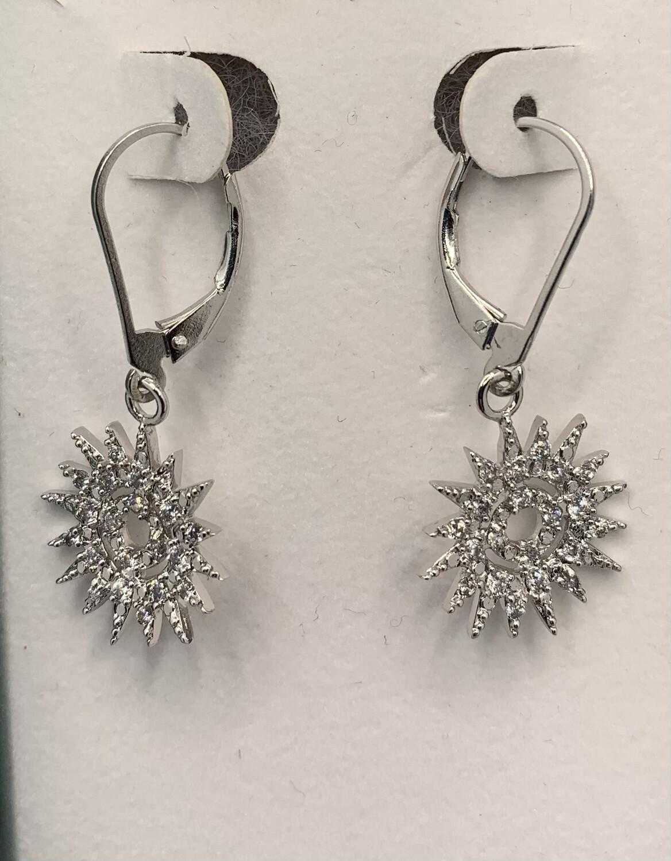 Sterling Silver Sunburst Lever Back Earrings