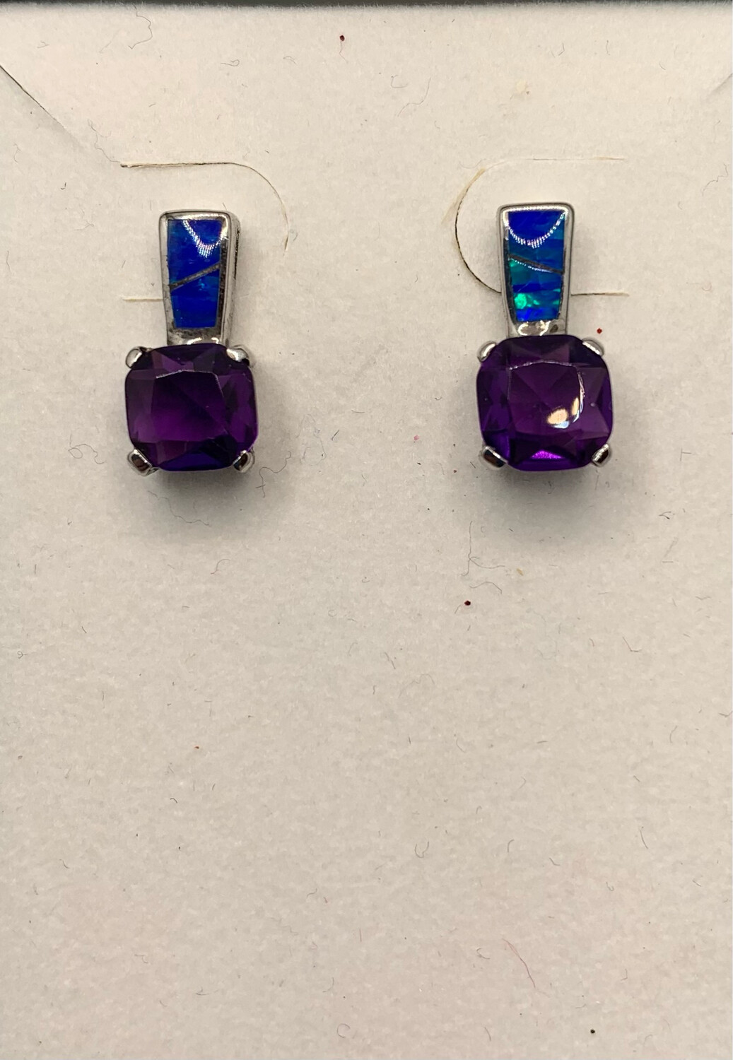 Sterling Silver Blue Mosaic And Lab Amethyst Post Earrings