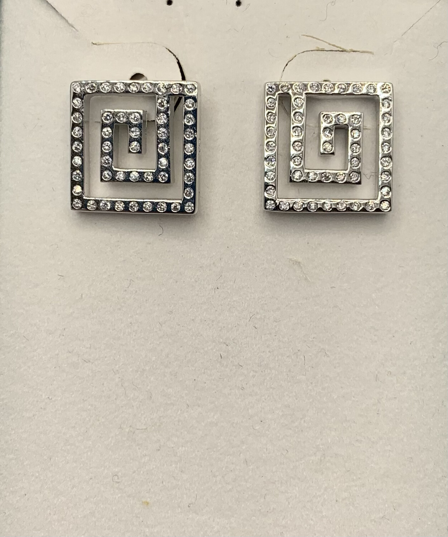 Sterling Silver Glittery Maze Post Earrings