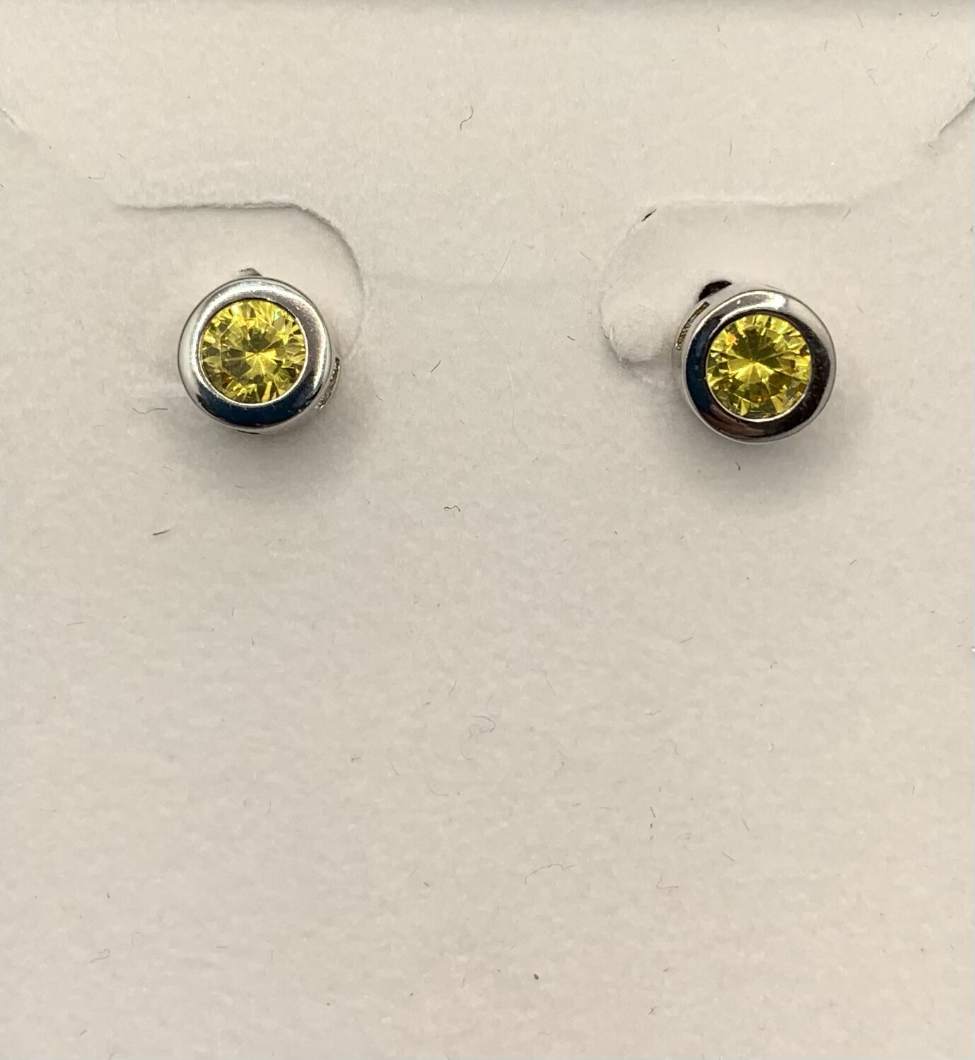 Sterling Silver Canary Yellow CZ Post Earrings
