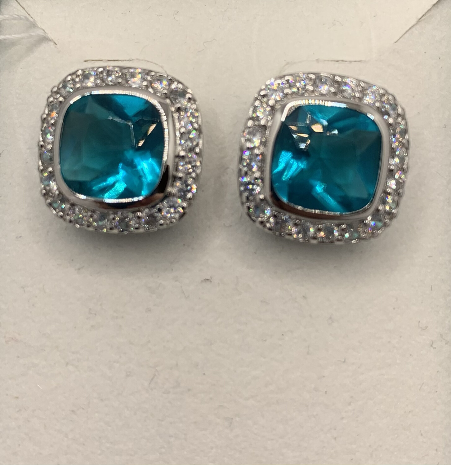 Brilliant Teal With CZ Halo Post Earrings Sterling Silver