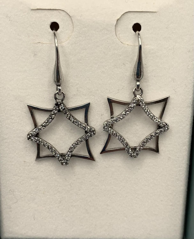 Sterling Silver Glittery Stars Earrings