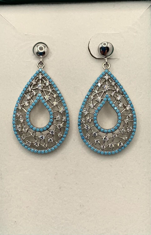 Sterling Silver Light Blue And Glitter Weave Post Earrings