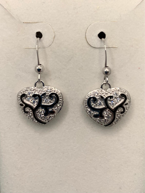 Sterling Silver Filigree Hearts Earrings