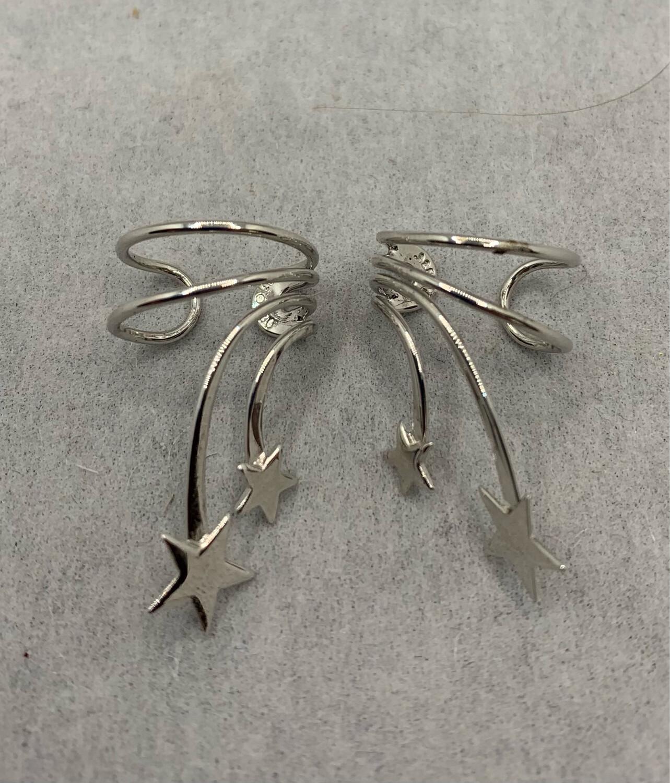 Sterling Silver Falling Stars Ear Cuffs
