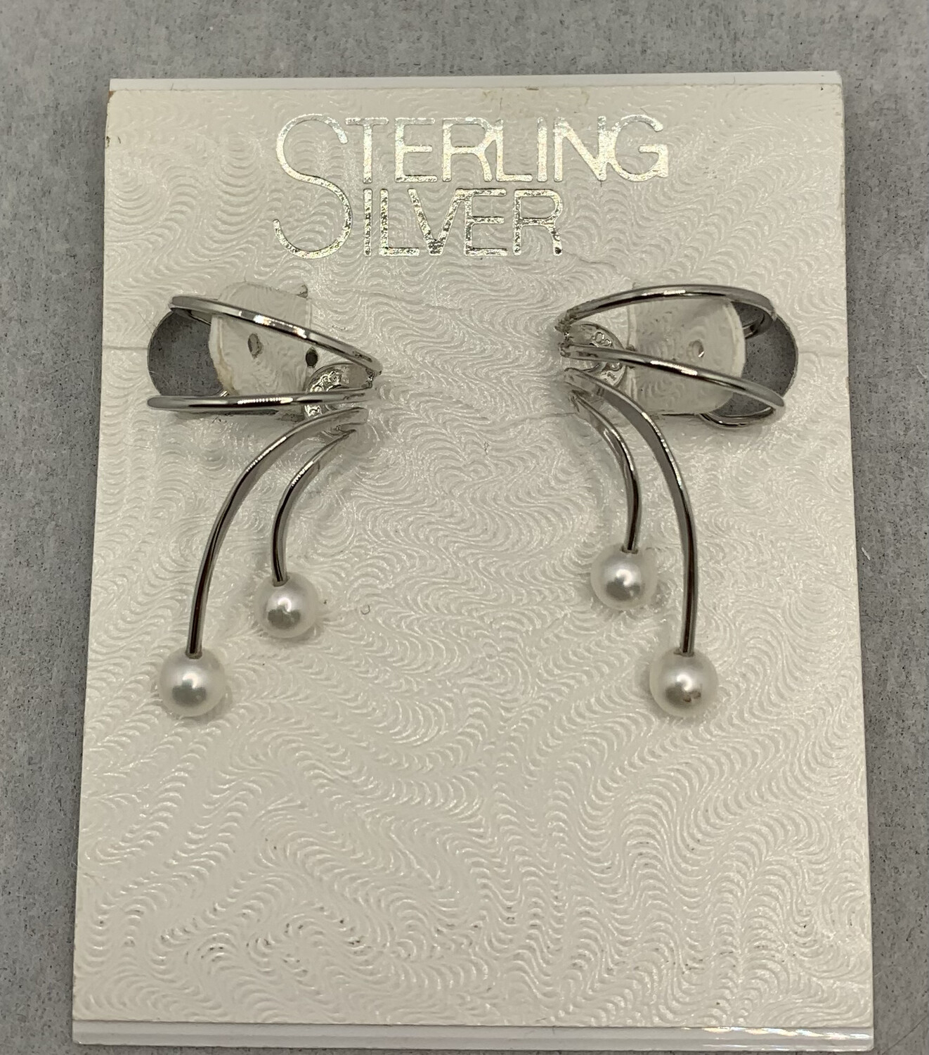 Sterling Silver Falling Pearls Ear Cuffs