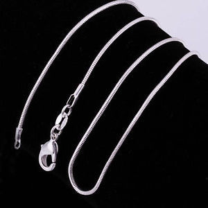 925 Silver Plated Snake Chain 18""