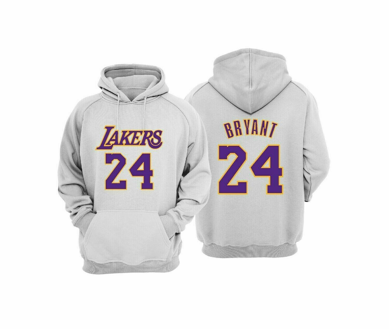 Lakers 24 WHITE HOODIE 2XL