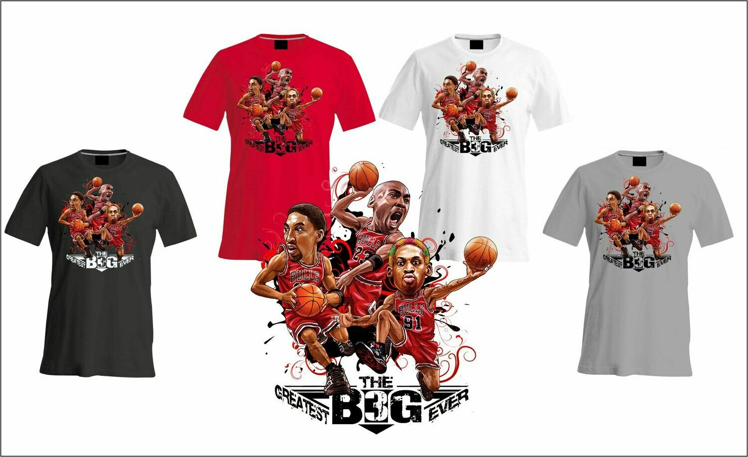 Bulls Big 3 caricature t-shirt