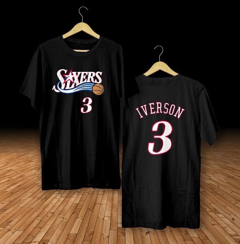 Iverson sixers black  t-shirt