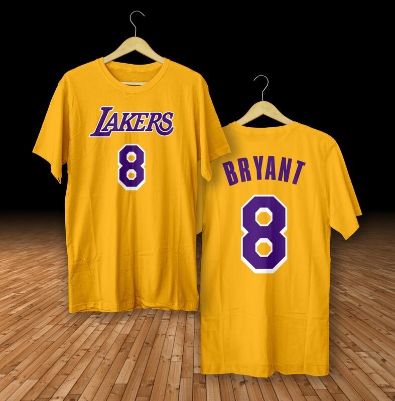 Bryant 8 lakers yellow  t-shirt