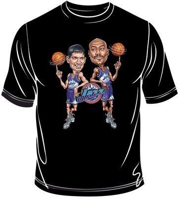 Malone-Stockton caricature t-shirt