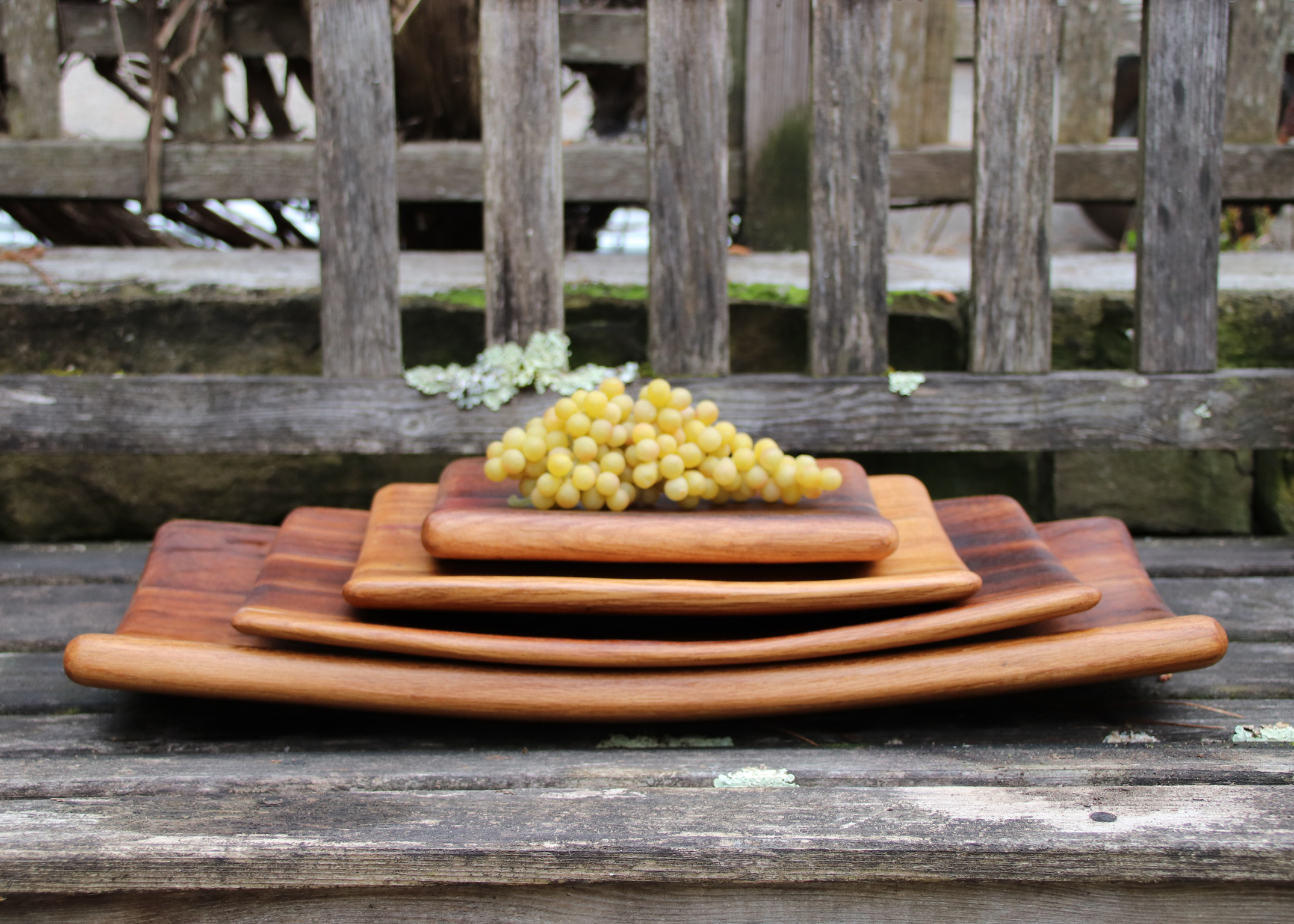 Wine barrel stave tray - large
