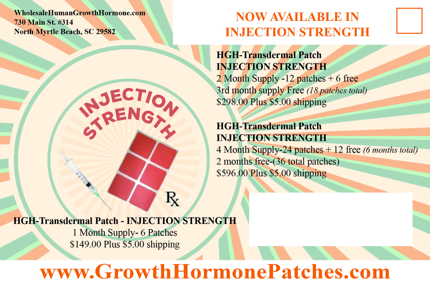 (AUTO-SHIP) HGH-Transdermal Injection strength patches (1 month Supply - 6 Patches) Shipped monthly until cancelled $94
