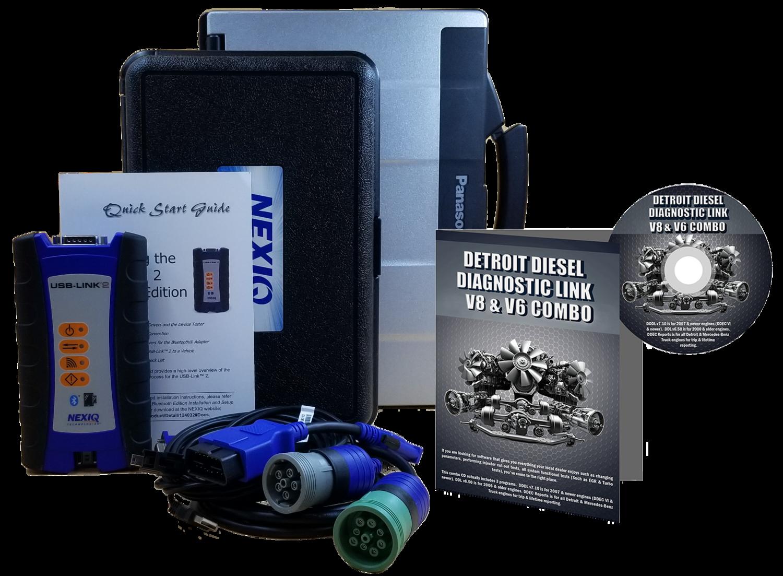 Detroit Diesel Diagnostic Link v8 & v6 Combo Professional License with NexIQ Scanner and Toughbook Dealer Package