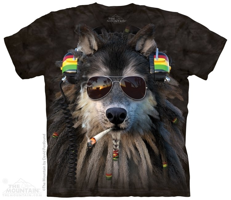 T-Shirt Smoking Rasta Wolf