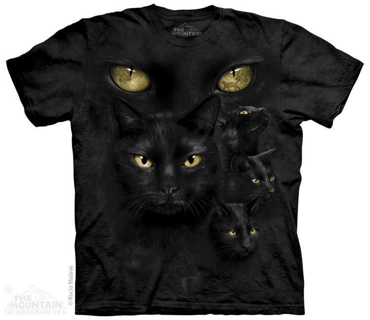 T-Shirt Black Cat Moon Eyes