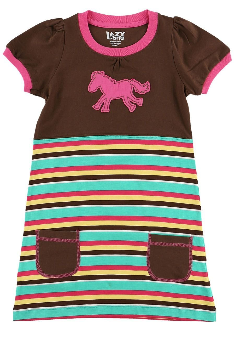 Horse Stripe T-Shirt-Klänning