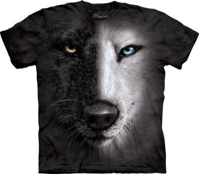 T-Shirt Black & White Wolf