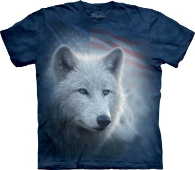 T-Shirt Patriotic White Wolf