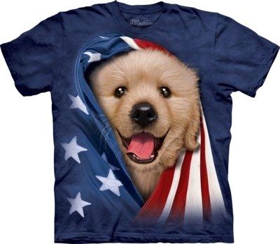 T-Shirt Patriotic Golden Puppy