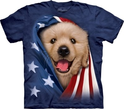 T-Shirt Patriotic Golden Puppy