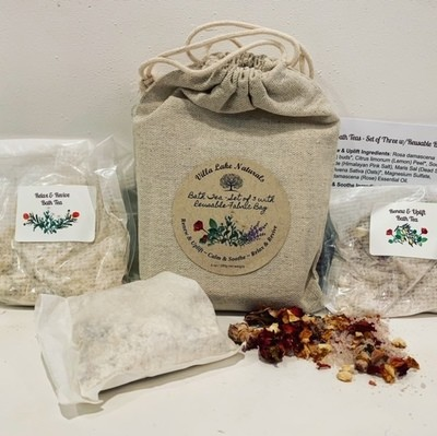 Bath Tea ~ Set of 3 with Reusable Cotton Bag ~ 6.4 oz net weight