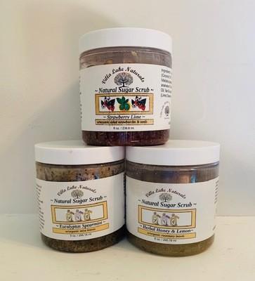 Bath ~ Sugar Scrub ~ Choose Essential Oil or Blend -Round Plastic Jar 8 oz.