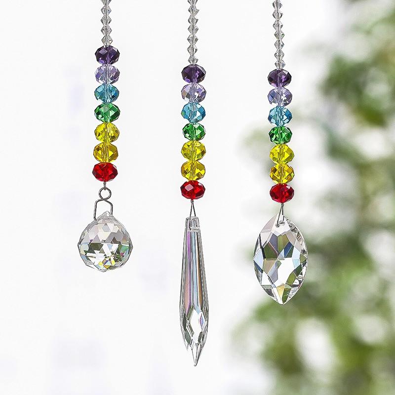 Chakra Crystal Suncatcher - Set of 3