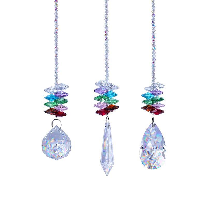 Chakra Crystal Prism Suncatcher - Set of 3