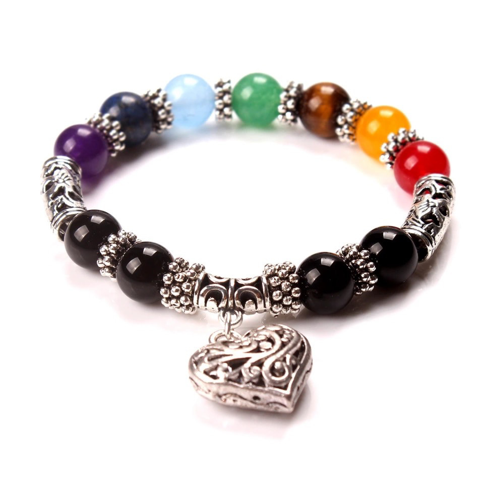 Chakra Bracelet with Heart Charm & Natural Stone Beads