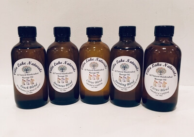 Massage Oil - With Hemp CBD Oil 100 mg.; Choose from Five Therapeutic Blends  4 oz.